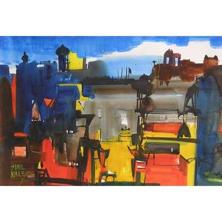 Sunil Kale | Watercolor Painting title Mindscape 30 on Paper | Artist Sunil Kale Gallery | ArtZolo.com