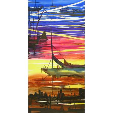 Seascape Watercolor Art Painting title 'Ocean moods 4' by artist Sunil Kale