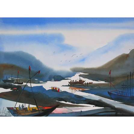 Riverscape 22   Painting by artist Sunil Kale   watercolor   Paper