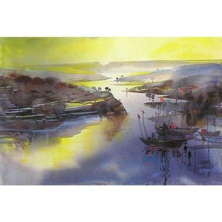 Seascape Watercolor Art Painting title Riverscape 42 by artist Sunil Kale