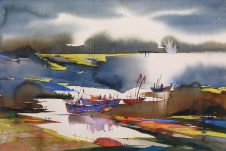 Landscape Watercolor Art Painting title 'Riverscape 67' by artist Sunil Kale