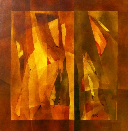 Abstract Mixed-media Art Painting title 'Nature 5' by artist Ramesh Kher