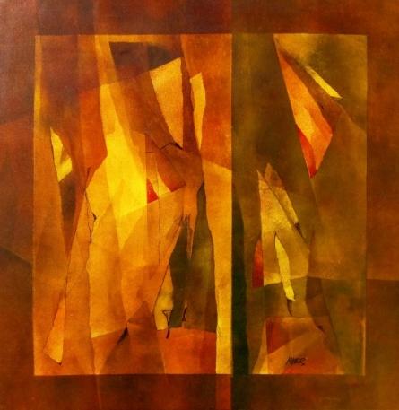 Ramesh Kher Paintings | Mixed-media Painting - Nature 5 by artist Ramesh Kher | ArtZolo.com