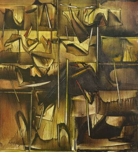 Ptg.1 | Painting by artist Ramesh Kher | oil | Canvas