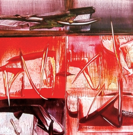 Abstract Oil Art Painting title Untitled 12 by artist Ramesh Kher