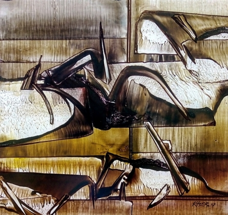 Abstract Oil Art Painting title Untitled 8 by artist Ramesh Kher