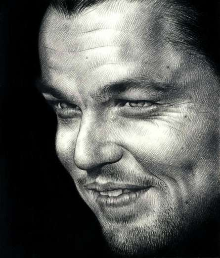 Portrait Pencil Art Drawing title 'Leonardo DiCaprio' by artist Pranab Das