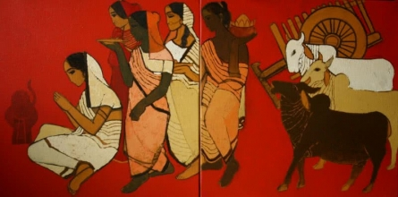 At Pooja Diptych | Painting by artist Siddharth Shingade | acrylic | Canvas