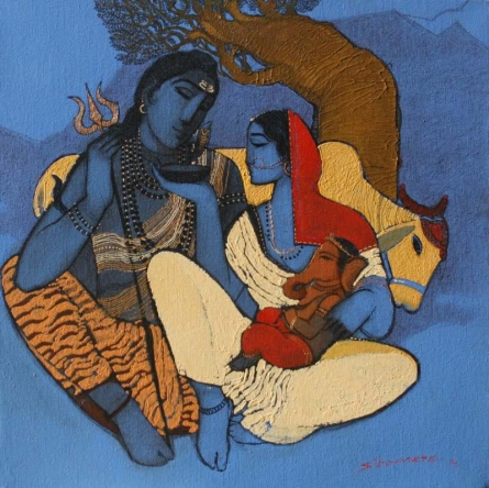 Shiv Parvati I | Painting by artist Siddharth Shingade | acrylic | Canvas
