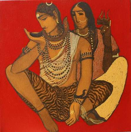 Shiv Parvati II | Painting by artist Siddharth Shingade | acrylic | Canvas
