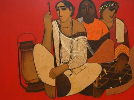 Figurative Acrylic Art Painting title 'Musicians' by artist Siddharth Shingade