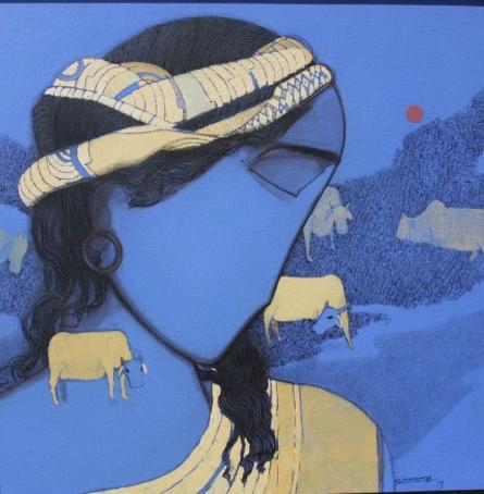 Figurative Acrylic Art Painting title 'Tribal Boy Blue' by artist Siddharth Shingade