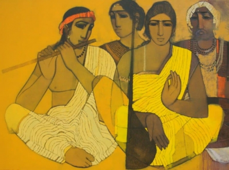 Figurative Acrylic Art Painting title 'Musicians II' by artist Siddharth Shingade
