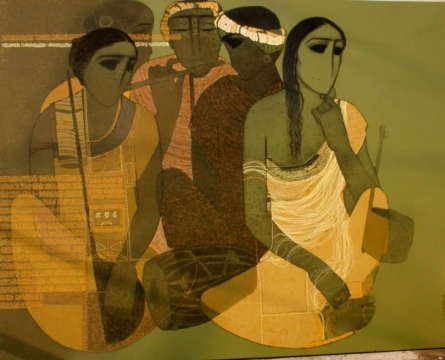 Musicians III | Painting by artist Siddharth Shingade | acrylic | Canvas