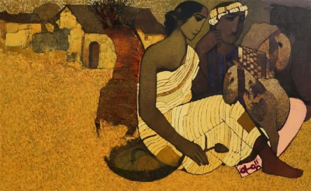 Couple Under The Tree I | Painting by artist Siddharth Shingade | acrylic | Canvas