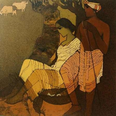 Figurative Acrylic Art Painting title Couple Under The Tree II by artist Siddharth Shingade