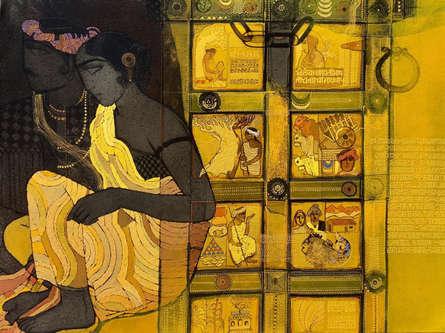 Figurative Acrylic Art Painting title Door 6 by artist Siddharth Shingade