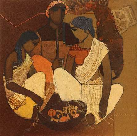 Figurative Acrylic Art Painting title 'Family 1' by artist Siddharth Shingade