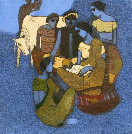 Figurative Acrylic Art Painting title Naamkaran 2 by artist Siddharth Shingade