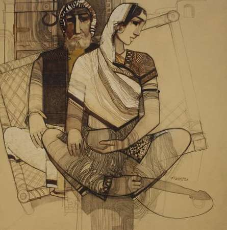 Old Couple | Painting by artist Siddharth Shingade | acrylic | Canvas