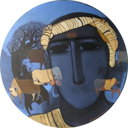 Tribal Boy Round | Painting by artist Siddharth Shingade | acrylic | Canvas