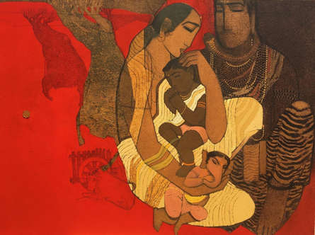 Religious Acrylic Art Painting title 'Shiv And Parvati 4' by artist Siddharth Shingade