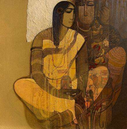 Religious Acrylic Art Painting title 'Shiv And Parvati 5' by artist Siddharth Shingade