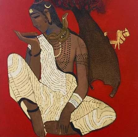 Figurative Acrylic Art Painting title Shiva 1 by artist Siddharth Shingade