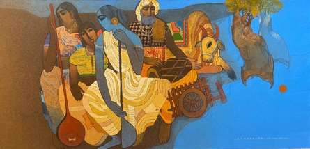Figurative Acrylic Art Painting title Village 12 by artist Siddharth Shingade