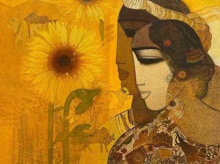 Figurative Acrylic Art Painting title Village 15 by artist Siddharth Shingade