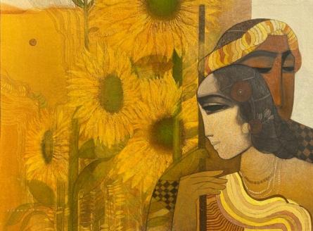 Figurative Acrylic Art Painting title Village 16 by artist Siddharth Shingade
