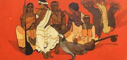 Figurative Acrylic Art Painting title Village Group by artist Siddharth Shingade