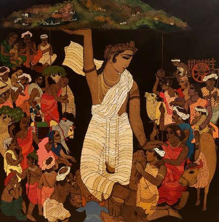 Religious Acrylic Art Painting title 'Vrindavan 4' by artist Siddharth Shingade
