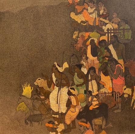 Religious Acrylic Art Painting title 'Vrindavan 6' by artist Siddharth Shingade