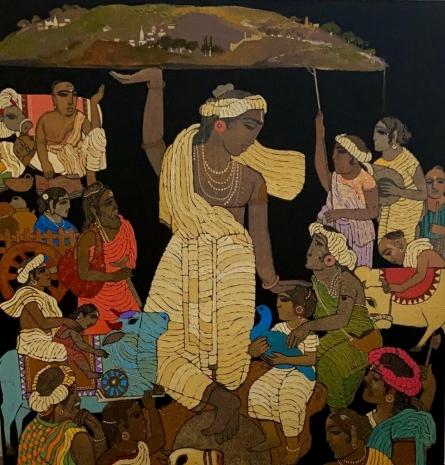 Religious Acrylic Art Painting title Vrindavan 6 by artist Siddharth Shingade
