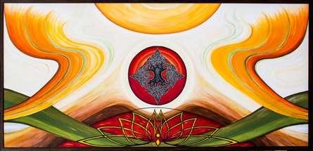 Expressionist Acrylic Art Painting title Synergy by artist Manju Lamba