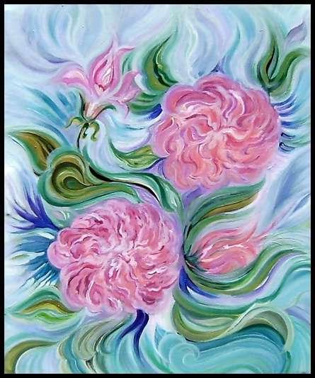 Nature Acrylic Art Painting title 'Aura of Roses' by artist Manju Lamba