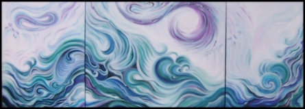 Cascade.  1.2.3.   Traditional art by artist Manju Lamba   Other   Canvas