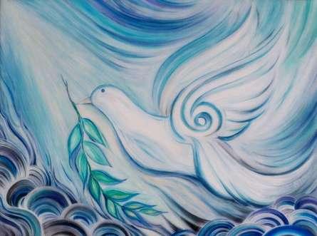 Animals Acrylic Art Painting title 'Dove of Peace' by artist Manju Lamba