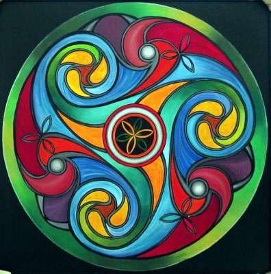 Manju Lamba | Acrylic Painting title Wheel Of Life on Canvas | Artist Manju Lamba Gallery | ArtZolo.com