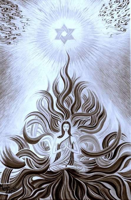 Meditation- B/W | Painting by artist Manju Lamba | oil | Canvas