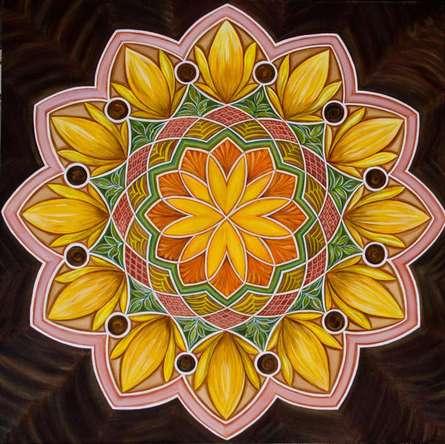 Motivational Acrylic Art Painting title 'Sunflower Mandala' by artist Manju Lamba