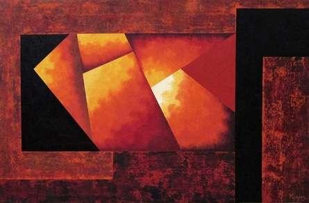 Abstract Acrylic Art Painting title 'War And Peace' by artist Manju Lamba