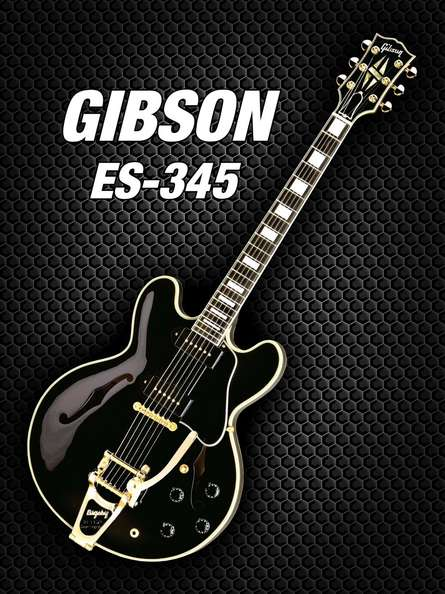 Black gibson - es - 345 | Photography by artist Shavit Mason | Art print on Canvas