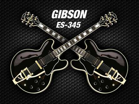 Double black gibson - es - 345 | Photography by artist Shavit Mason | Art print on Canvas