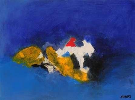 Blue Ride II | Painting by artist Sadhna Raddi | acrylic | Paper