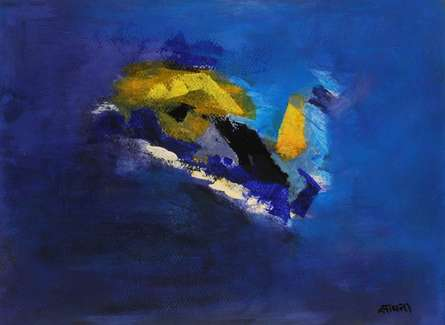 Abstract Acrylic Art Painting title 'Blue Ride V' by artist Sadhna Raddi