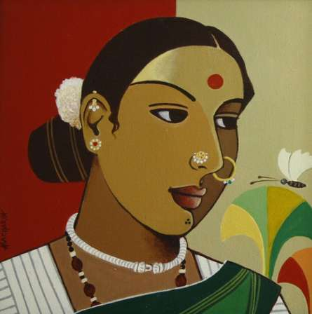 Indian Woman II | Painting by artist Agacharya A | acrylic | Canvas