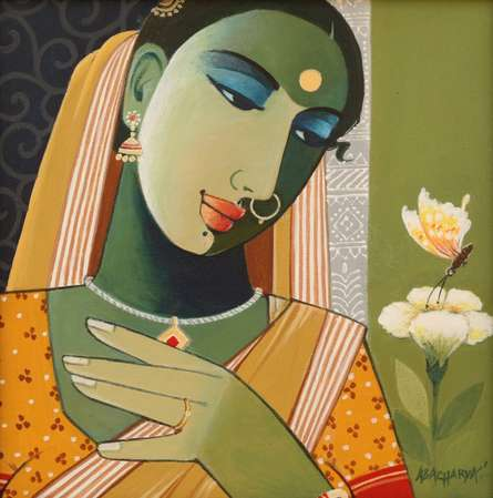 Figurative Acrylic Art Painting title 'Indian Woman I' by artist Agacharya A