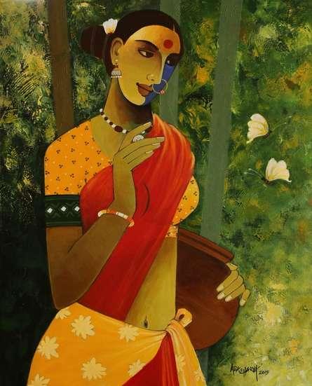 Indian Woman III | Painting by artist Agacharya A | acrylic | Canvas